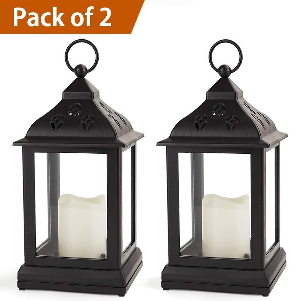 Bright Zeal Pack Of 2 Vintage 9 Candle Lantern W Led Flickering Flameless Candle Black 8hr Timer Vintage Candles Candle Lanterns Lanterns Decor