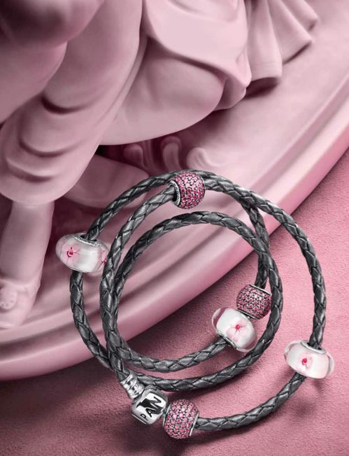 2e3889494 PANDORA Grey Braided Triple Leather Bracelet with Pretty Cherry Blossom  Murano and Pink Pave Charms.
