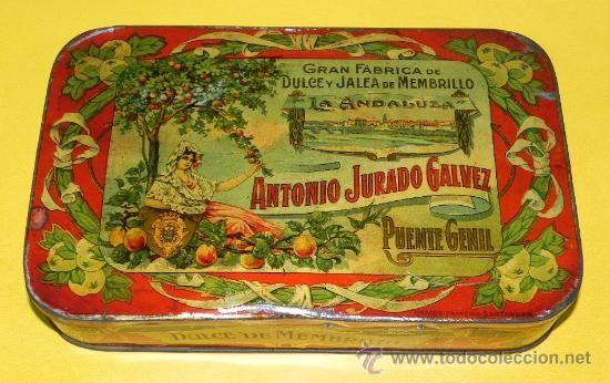 Antigua Caja De Hojalata Litografiada De Menbrillo La