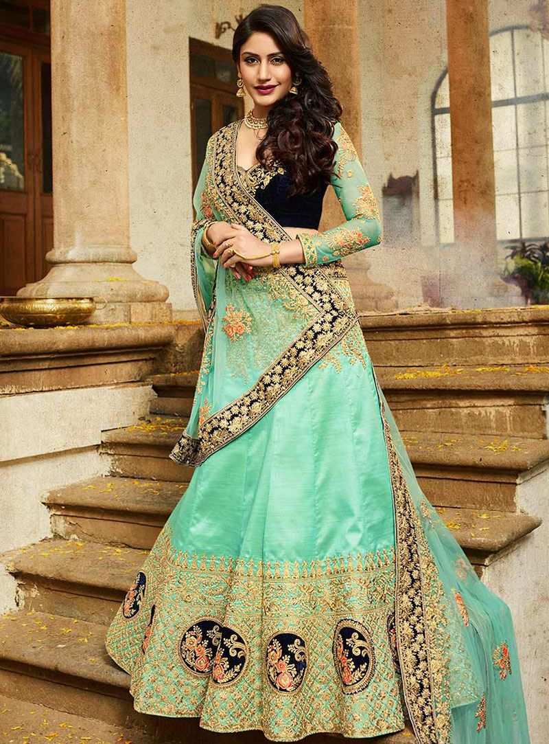 2417dd33be1370 Surbhi Chandna Turquoise Satin A Line Lehenga Choli 117600 | A Line ...