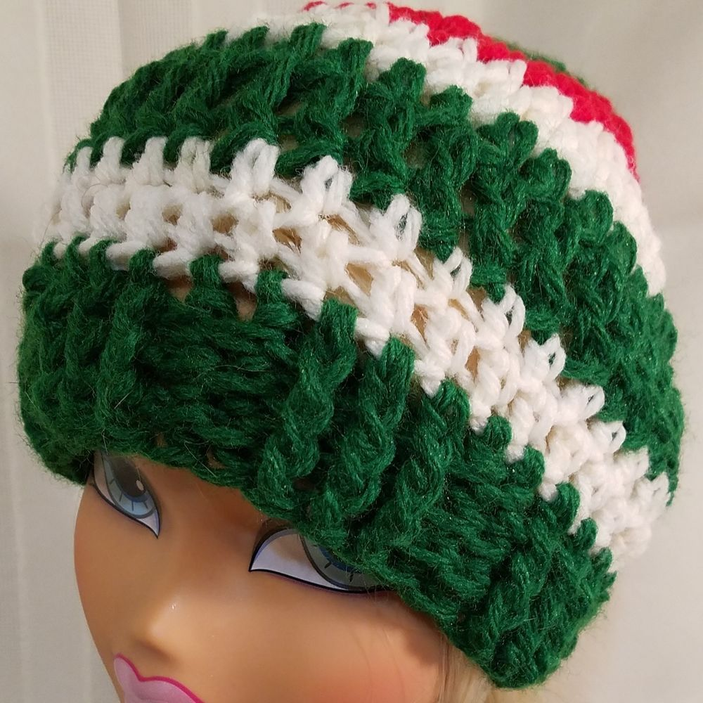 e09fdc50508 Handmade Crochet Baby Hat 6-12 months Red green and white stripe. Acrylic   fashion  clothing  shoes  accessories  babytoddlerclothing   babyaccessories (ebay ...