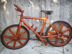 A Real Ridable Mountain Bike Wrapped In Teak Wood Teak Wood Bike Wood