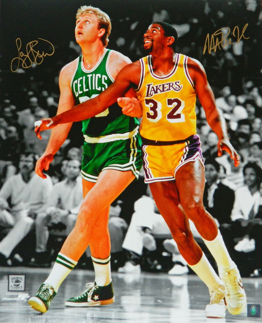 59a185e406cbe Larry Bird & Magic Johnson Dual Signed Boston Celtics vs Los Angeles ...