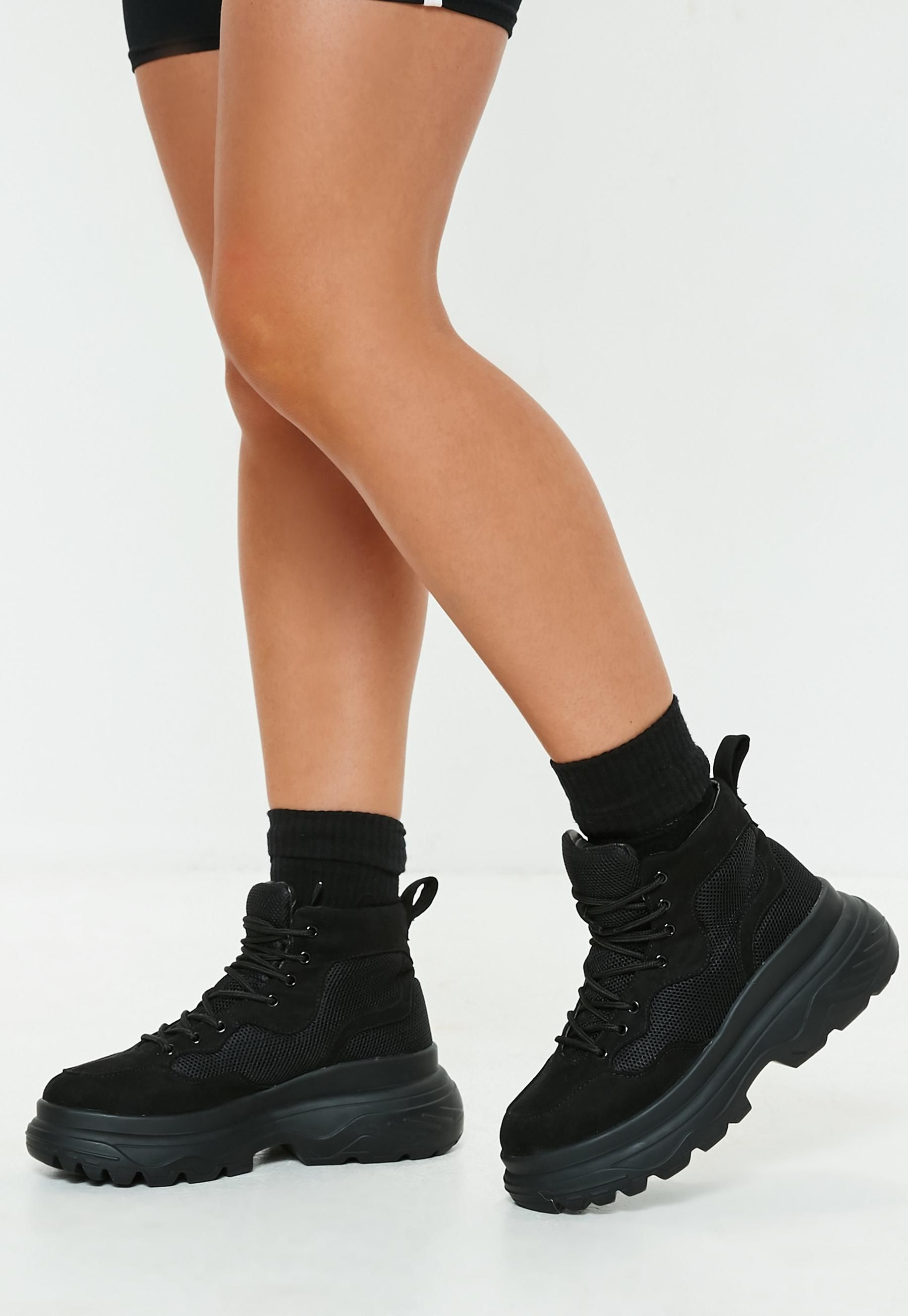 Black Double Sole Hiking Sneaker Boots