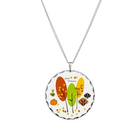 Happy Thanksgiving Necklace Circle Charm