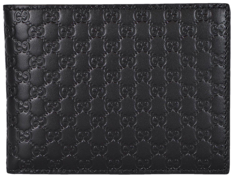 3b658a007fcc Gucci Men's Leather Micro GG Guccissima Trifold Wallet 217044 (Black)