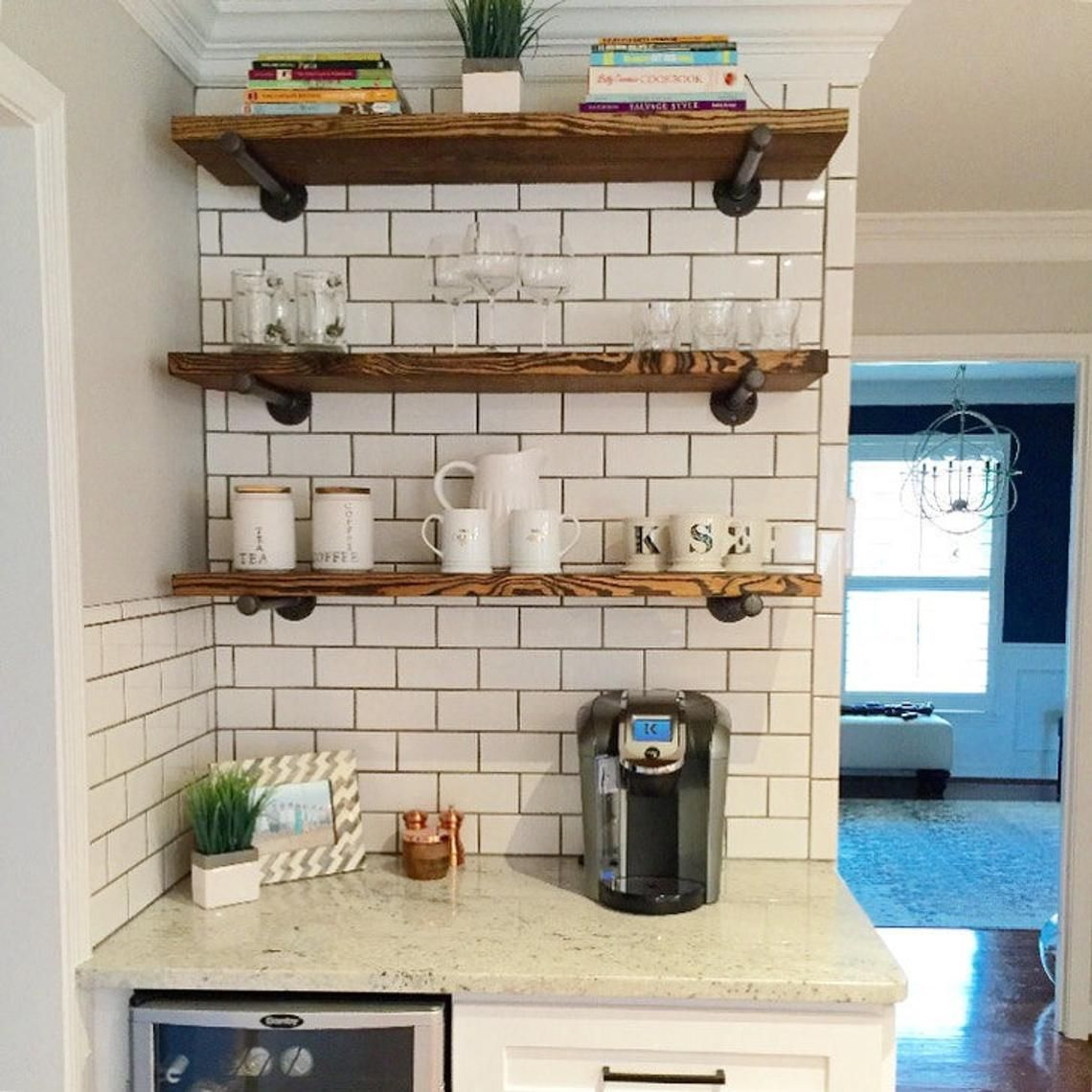 Industrial Floating Shelves 12 Depth Book Shelf Open Etsy Floating Shelves Kitchen Open Kitchen Shelves Kitchen Design Countertops