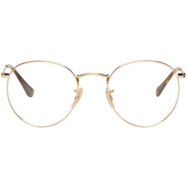 079201dd2b311 Ray-Ban Gold Round Glasses ( 160) ❤ liked on Polyvore featuring men s  fashion