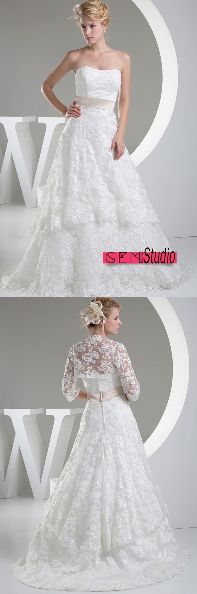 Beautiful full lace tulle aline wedding dress with jacket oph