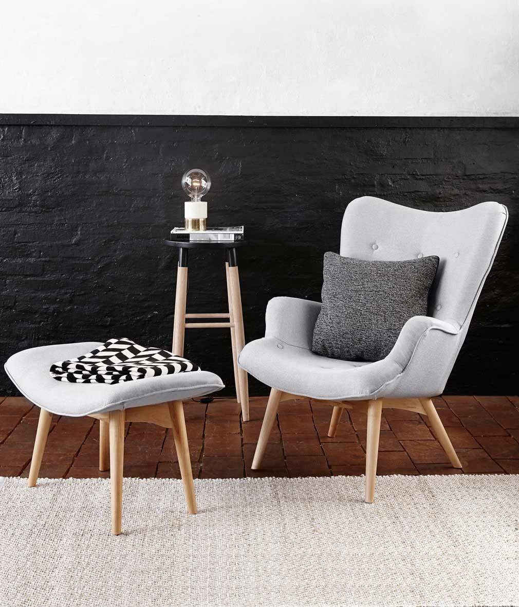 Hübsch fauteuil met voetenbankje grijs/houten poten | Interieur ...