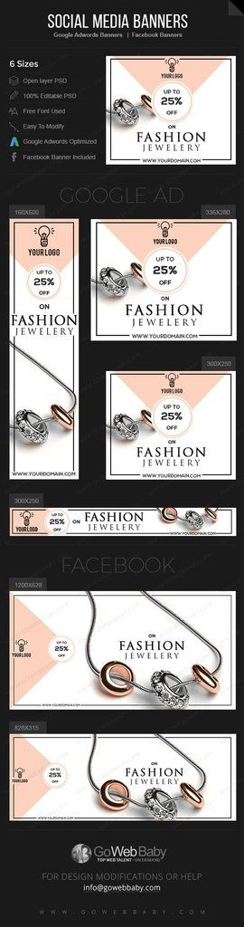 6554e9c73 Google Adwords Display Banner with Facebook banners - FASHION JEWELERY Store  Website Marketing