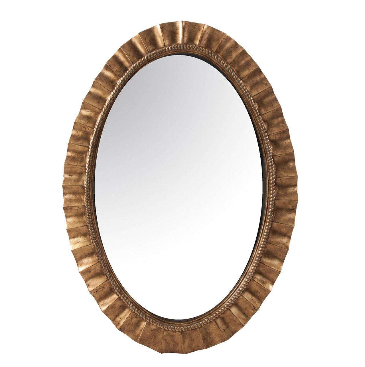 #Espejo #ovalado en color #dorado. Este espejo ovalado tiene un marco con #ondulaciones. Acabado en color oro nos va a dar un aspecto #rústico para una decoración basada en objetos #retro.