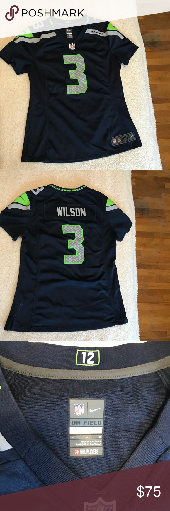 women's seattle seahawks russell wilson nike college navy game jersey
