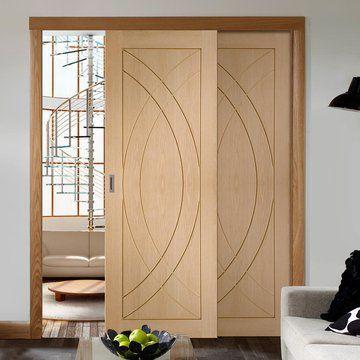 Easi-Slide Oak Treviso Flush Sliding Door System in Four Size Widths