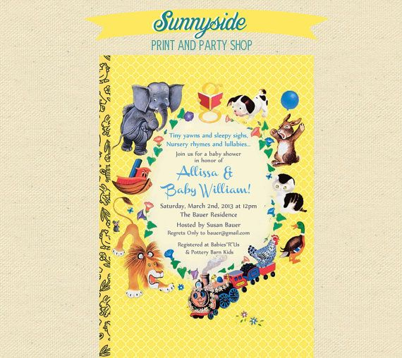Baby Shower Nursery Rhyme Storybook Invitation Book Baby Shower