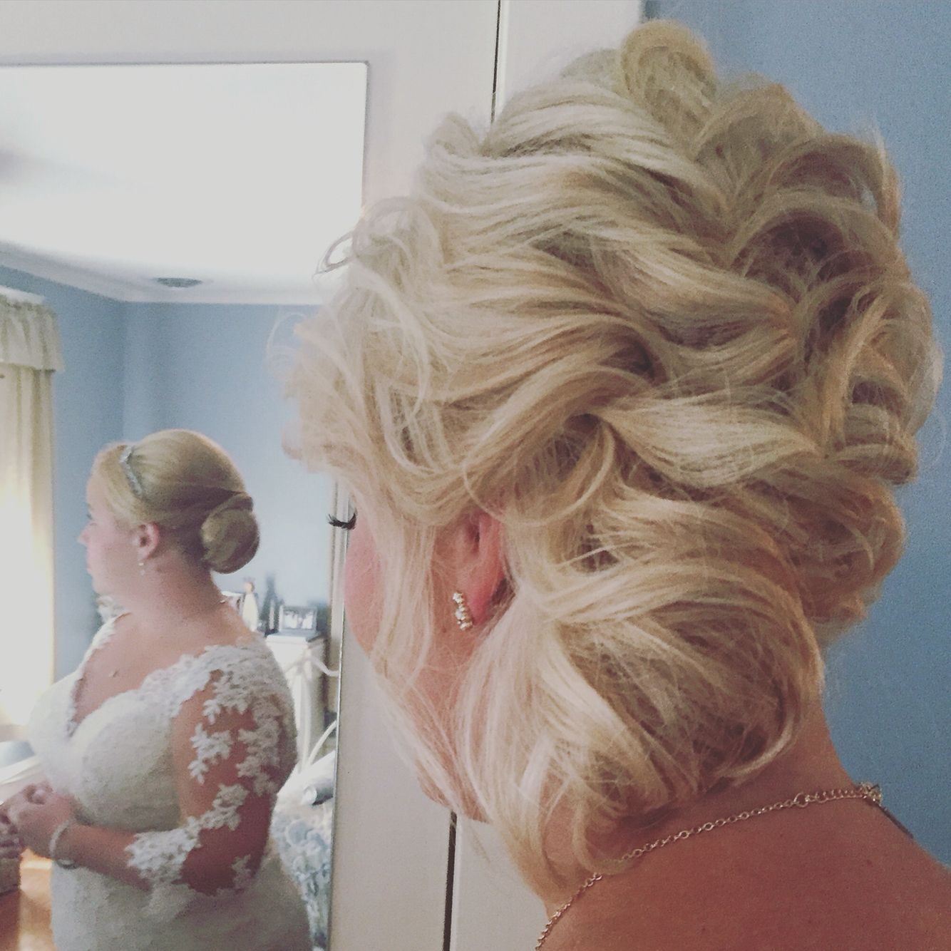 Short hair updo!  Her hair was directly above shoulder!  #shorthairupdo