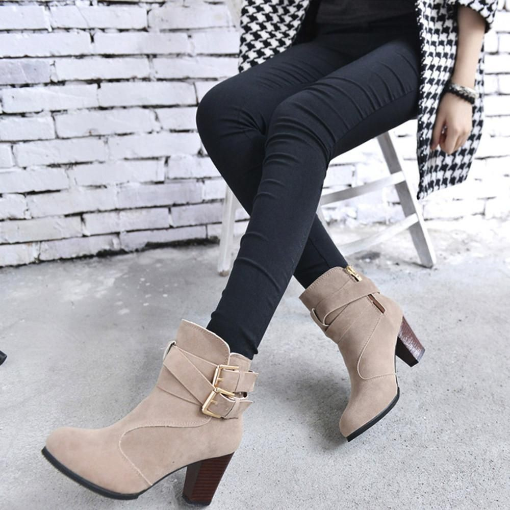 Women Belt Buckle Martin Shoes Ladies Ankle Boots for ladies High Heels Martin Shoes