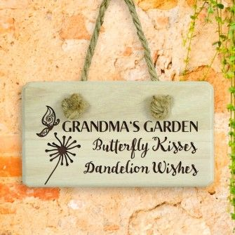 Personalised Wooden Sign Butterfly Kisses In 2020 Personalized Wooden Signs Peg Hooks Garden Gifts