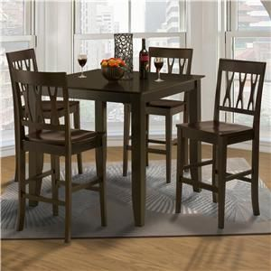 Style 19 Small Counter Height Table And Abbie All Wood Chair Set