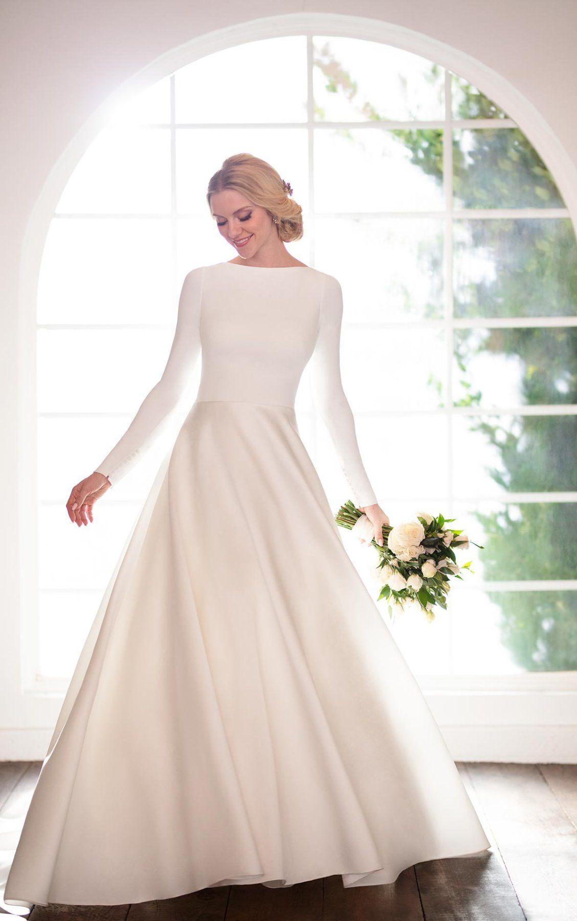Modest Simple Ballgown With Sleeves Martina Liana Ball Gowns Wedding Fancy Wedding Dresses Wedding Dress Long Sleeve [ 1799 x 1128 Pixel ]