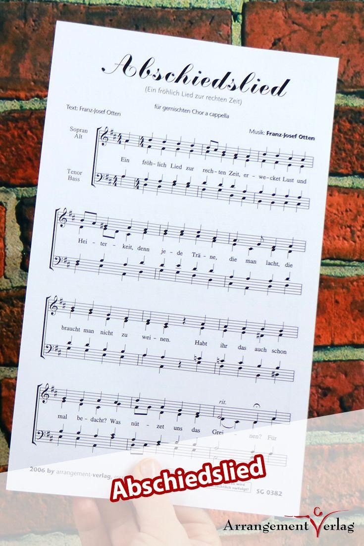 Abschiedslied für gemischten Chor ✓ a cappella Chorsatz ♬ Komponist: Franz-… – Arrangement-Verlag