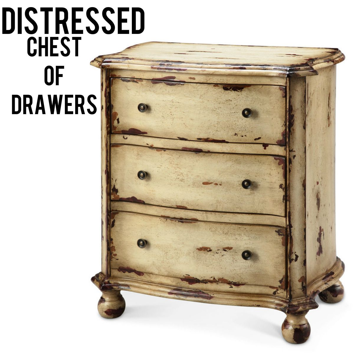 This charming three drawer chest made from hand cast hardware is