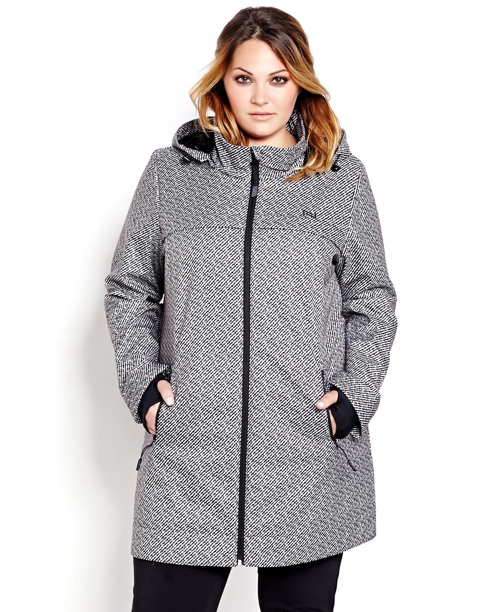 a676ef9334 Nothing warms a chilly day like the Nola soft shell woven coat. Ajustable  and removable hood with funnel neck and thumbholes at cuffs add extra  protection ...