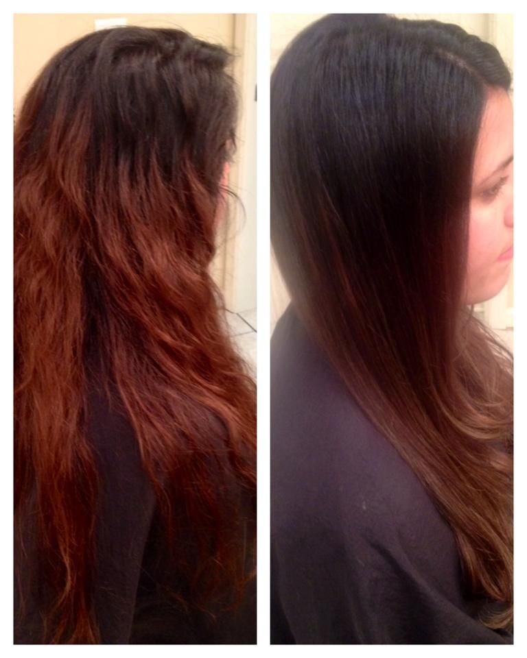 Grown Out Roots Blend Them In By Breaking Up That Line Of Demarcation We Dragged Her Dark Root Color And Covered Her Grown Out Hair Regrowth Hair Grow Hair