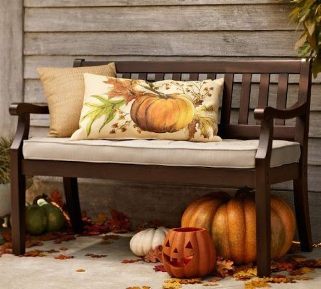 Astonishing Outdoor Bench Spruced Up For Fall Home Outdoors Autumn Fall Machost Co Dining Chair Design Ideas Machostcouk