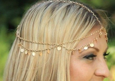 2014 New  Jewelry BOHO Style Gold Plated  Alloy Coin  Pendant Fashion Head Chain Simple Metal Chain Hair Jewelry Head Band