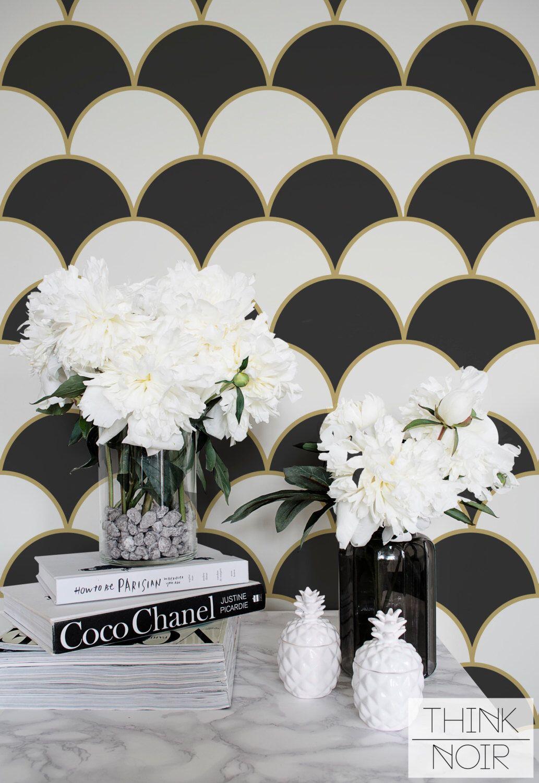 Scallop Removable Wallpaper, Geometric Regular Wallpaper, Grey Scallop Wallpaper by ThinkNoirWallpaper on Etsy https://www.etsy.com/listing/451202990/scallop-removable-wallpaper-geometric