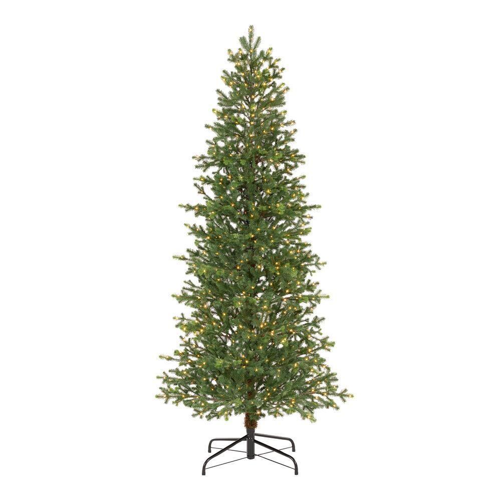 7 Ft Elegant Grand Fir Slim Led Pre Lit Artificial Christmas Tree With Time Artificial Christmas Tree Realistic Christmas Trees Slim Artificial Christmas Trees