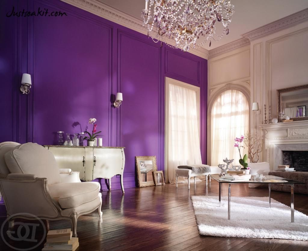 Stunning Interior Room In Violet Tones Purple Living Room Paint Colors For Living Room Living Room Colors #purple #and #grey #living #room #walls