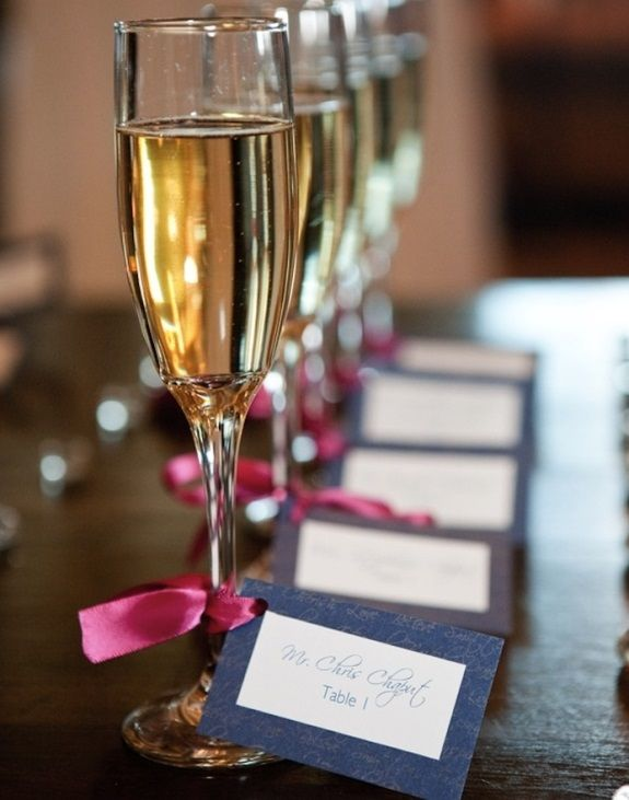 Place cards with a drink