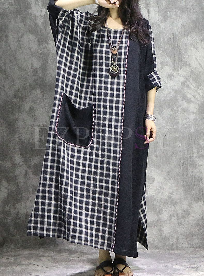 Plus Size Contrast Color Straight Maxi Dress With Pockets Fashion Maxi Dress Loose Maxi Dress [ 1066 x 789 Pixel ]