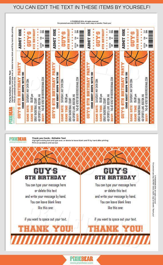 Basketball Party Invitation - Basketball Birthday Invitation ...