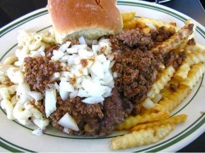 a burger (or cheeseburger, or two hot dogs, or grilled cheese, or ham, or eggs) that's loaded up with your choice of fries, baked beans, home fries or macaroni salad.