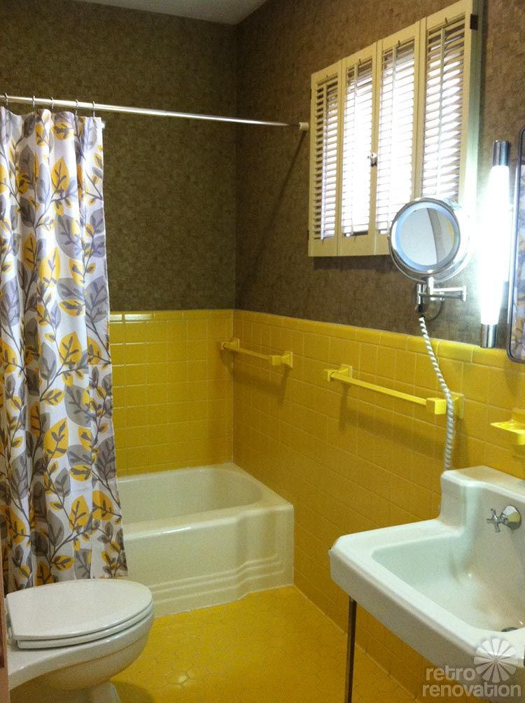 Robert And Caroline S Mid Century Home With Dreamy St Charles Kitchen Cabinets Yellow Bathroom Tiles Yellow Bathrooms Yellow Bathroom Decor