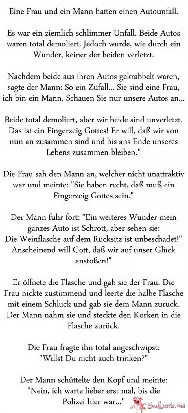 Autounfall - Mann und Frau - SauLustig