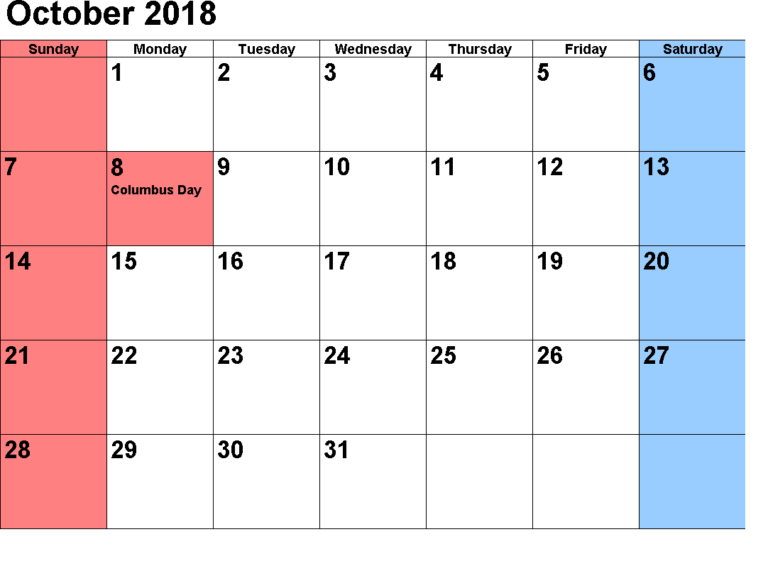 October Calendar 2018 Printable Template August Kalender Oktober Kalender Kalender Druckvorlagen