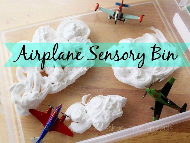 Airplane Sensory Bin -- messy sensory play for you Tot/ Preschooler.