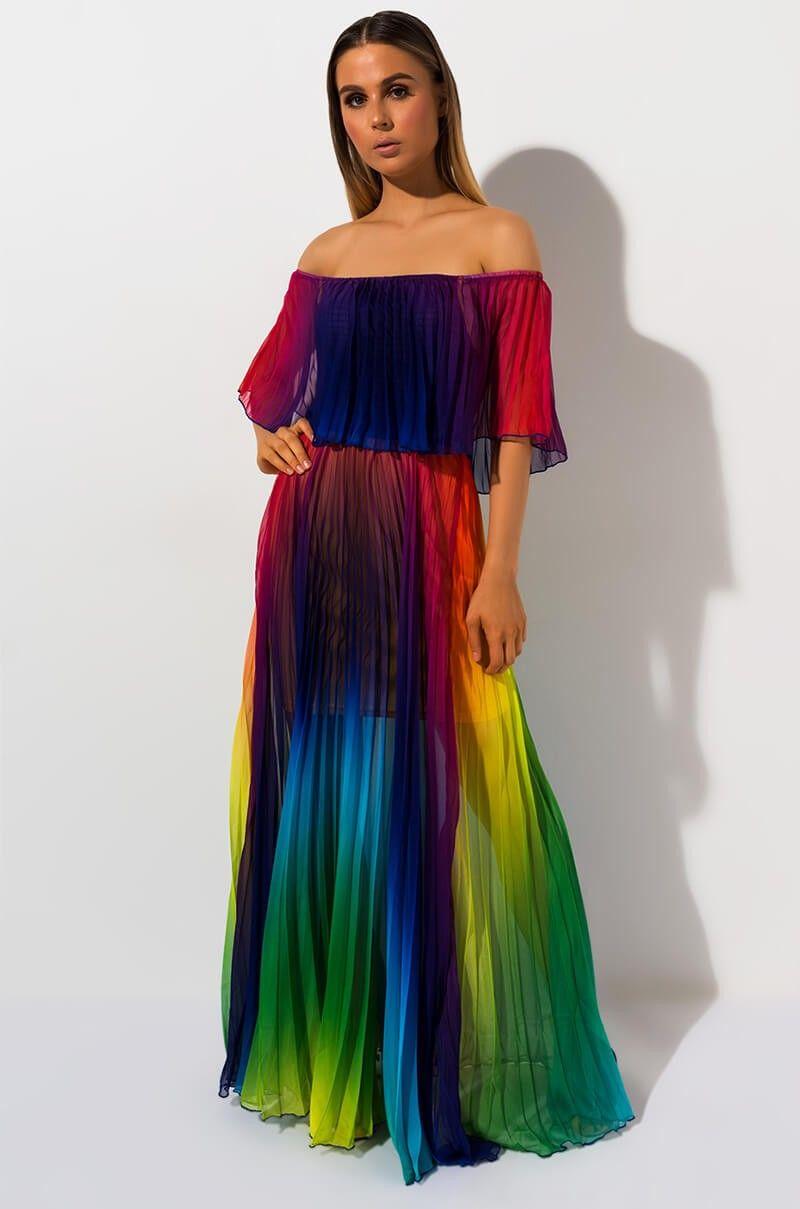 Akira Label Rainbow Pleated Off Shoulder Maxi Dress In White Rainbow Rainbow Dress Pleated Maxi Dress Dresses [ 1209 x 800 Pixel ]