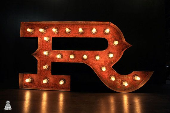20 50cm Rustic Wild West Metal Marquee Letter Lights A Z All Letters Available Custom Made In The Uk Lighted Marquee Letters Light Letters Light Up Letters