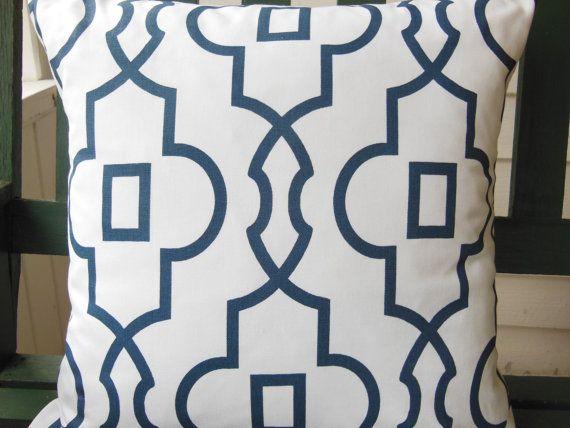 Navy Blue White Geometric Throw Pillow Cushion COVER Couch Sofa