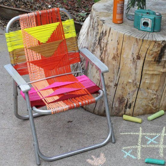 DIY Woven Chair   For That Old Lawn Chair Frame
