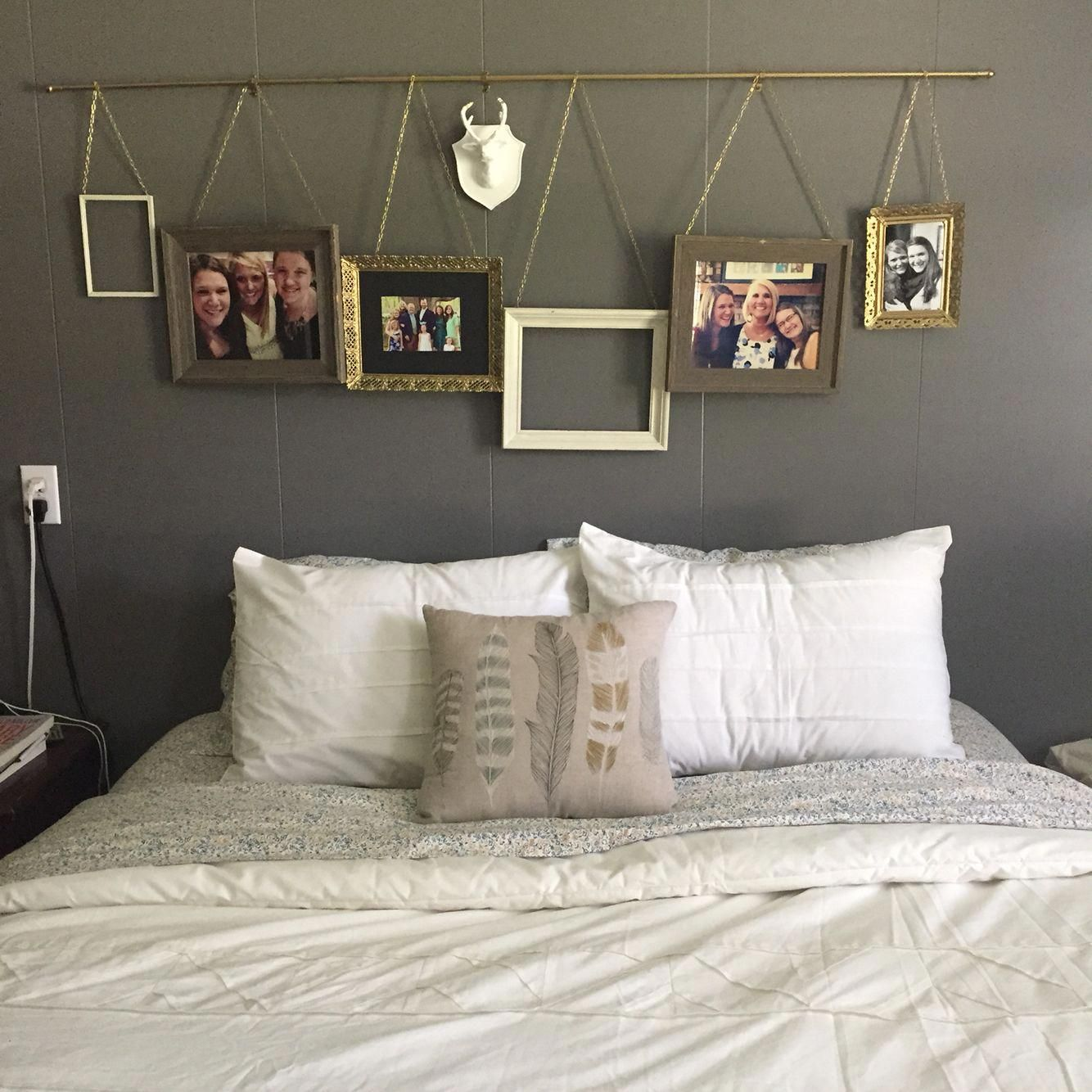 Above bed ideas. Hanging pictures from a curtain rod. Easy and