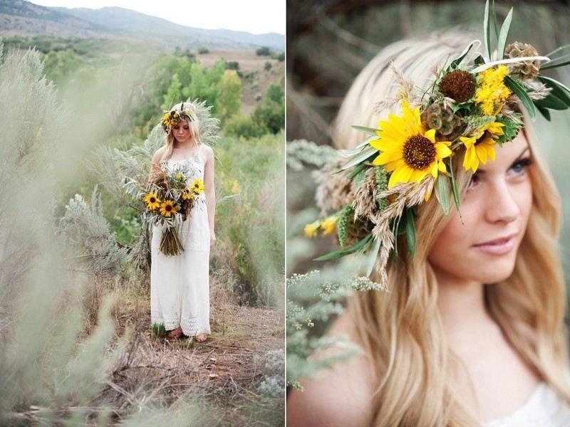 couronne jaunes ensoleillées et de beaux tournesols