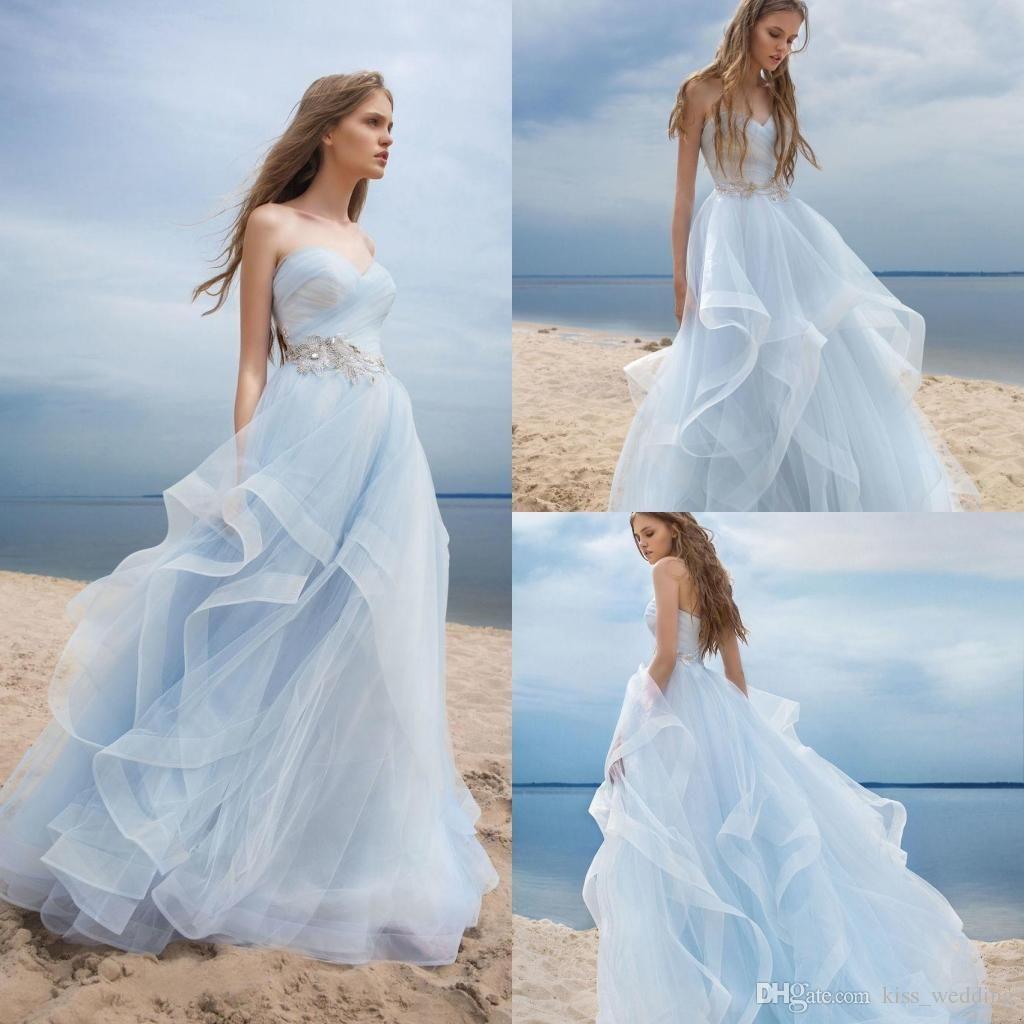 Discount Beautiful Light Sky Blue Wedding Dresses Boho Style Beach