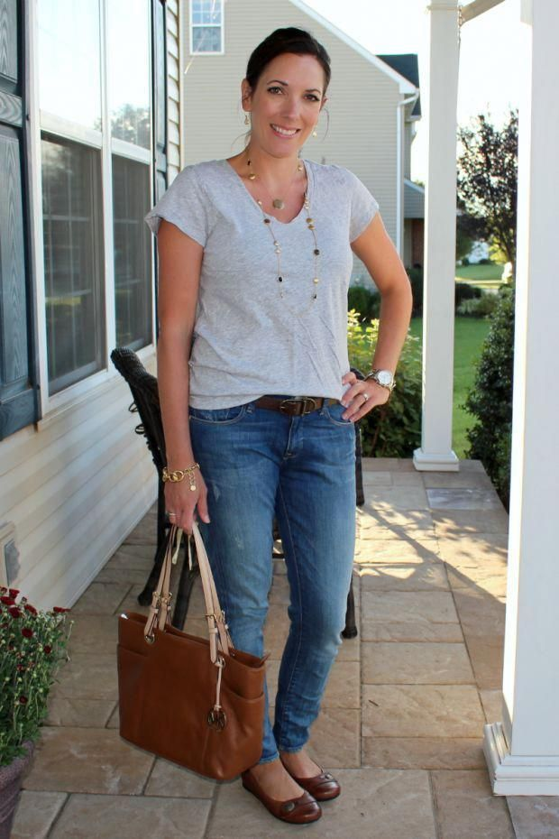 Mom fashion: Gray Tee and Jeans can always be dressed up or down depending on yo...#depending #dressed #fashion #gray #jeans #mom #tee