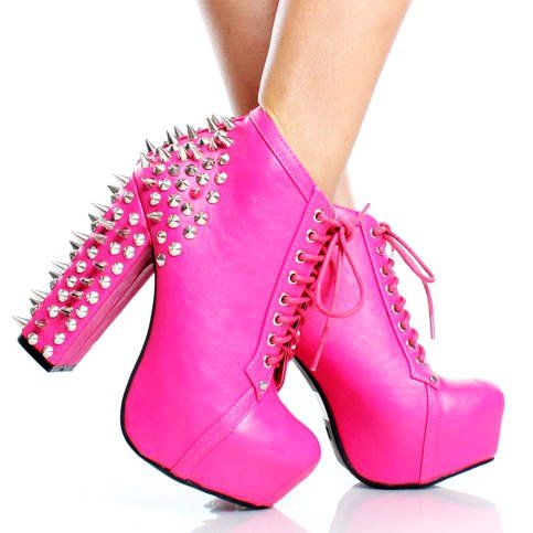 Spiked Studded Pink Heel Laced Ankle Boots studded heels http